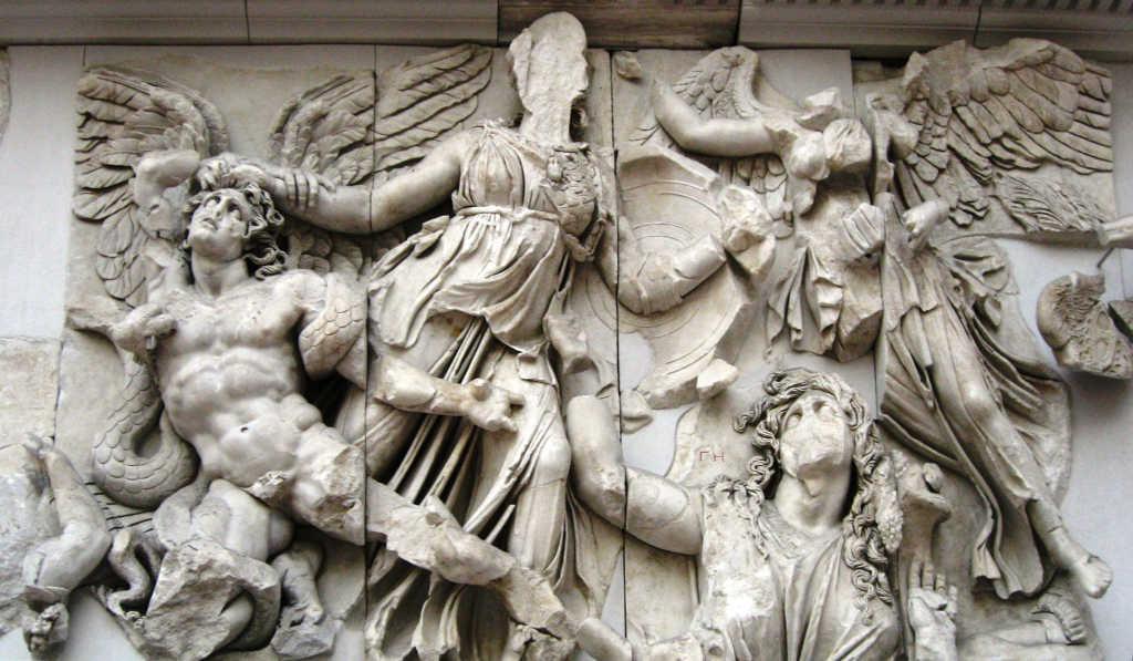 Atena, Gaia e o gigante Alcioneu