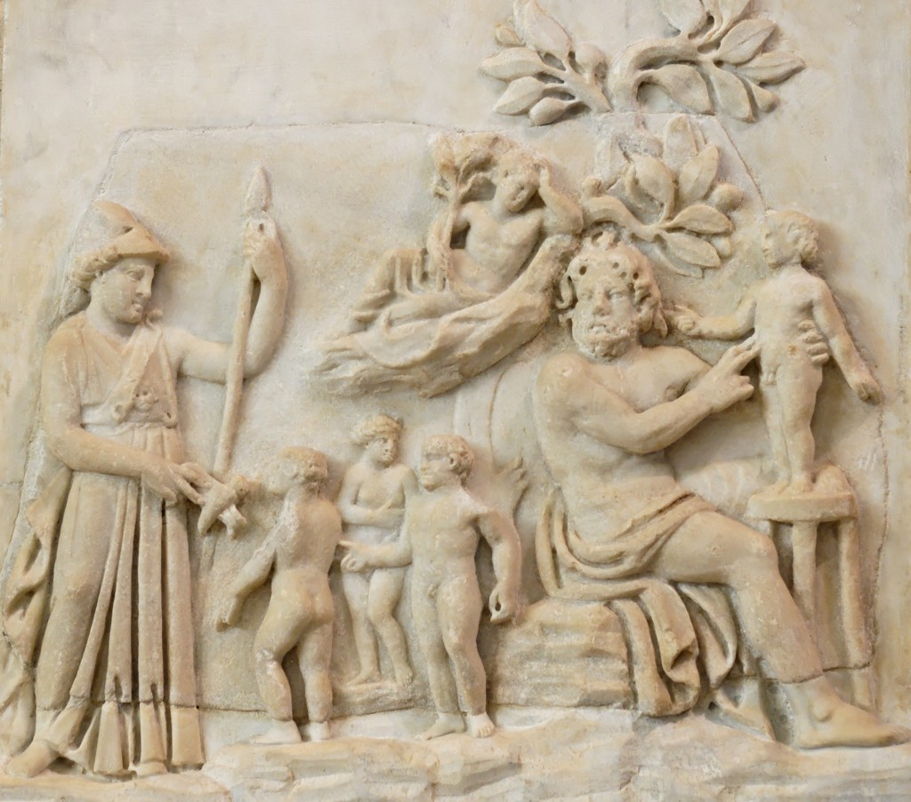 Creation of humanity by Prometheus as Athena looks on (Roman-era relief, 3rd century AD)